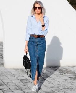 saia-jeans-midi-look-street-style-camisa-tenis